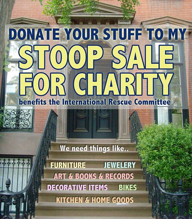 Hey, I'm throwing a stoop sale with some friends to raise money for refugees. If you have any good stuff you'd like to donate, message me or just comment!