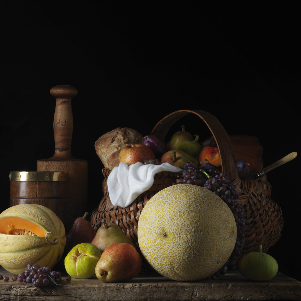 Still Life With Melons and Basket, After L.M. © 2014 Paulette Tavormina