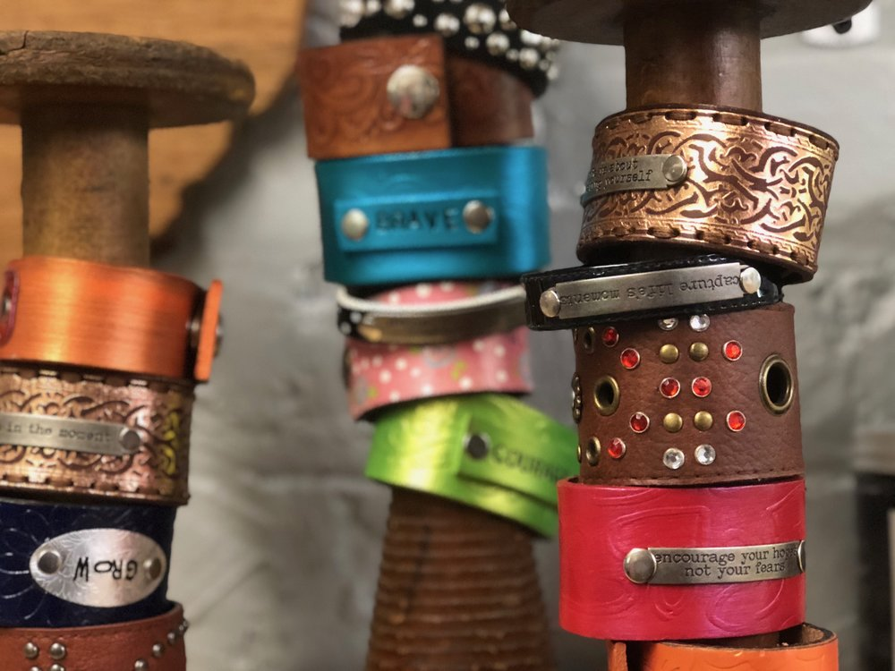 DEBBIE HARRIS - COLLAGE, ENCAUSTIC, LEATHER BRACELETS