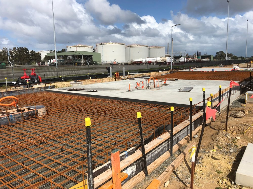 With High and Low Intercom Bollards and Access Control for the Vehicle Entry Gate - heavy duty Concrete ready to pour