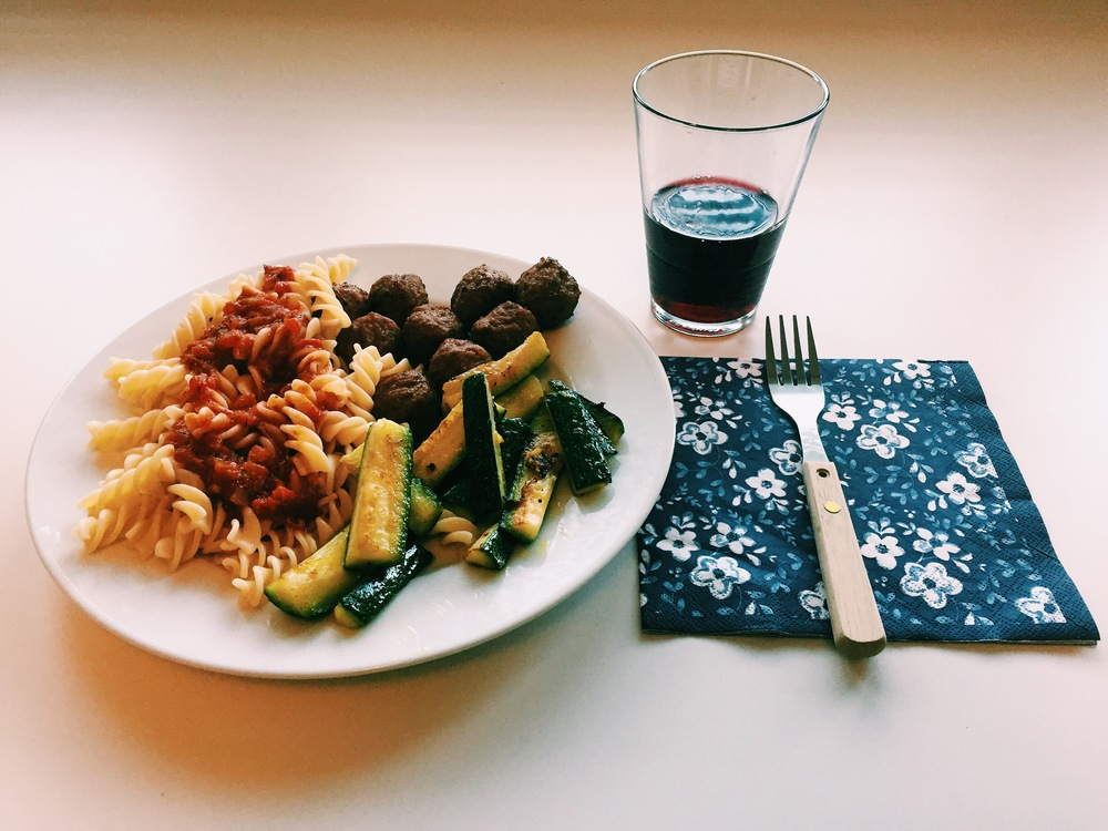 My first home cooked meal in my apartment here. It was pasta, grilled zucchini and meatballs.