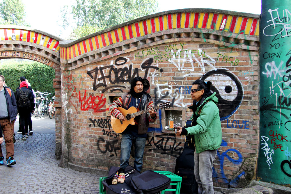 Musician's outside the entry to Christiania.