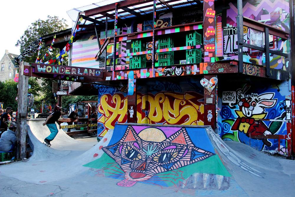 The DIY skate park in the center of the commune.