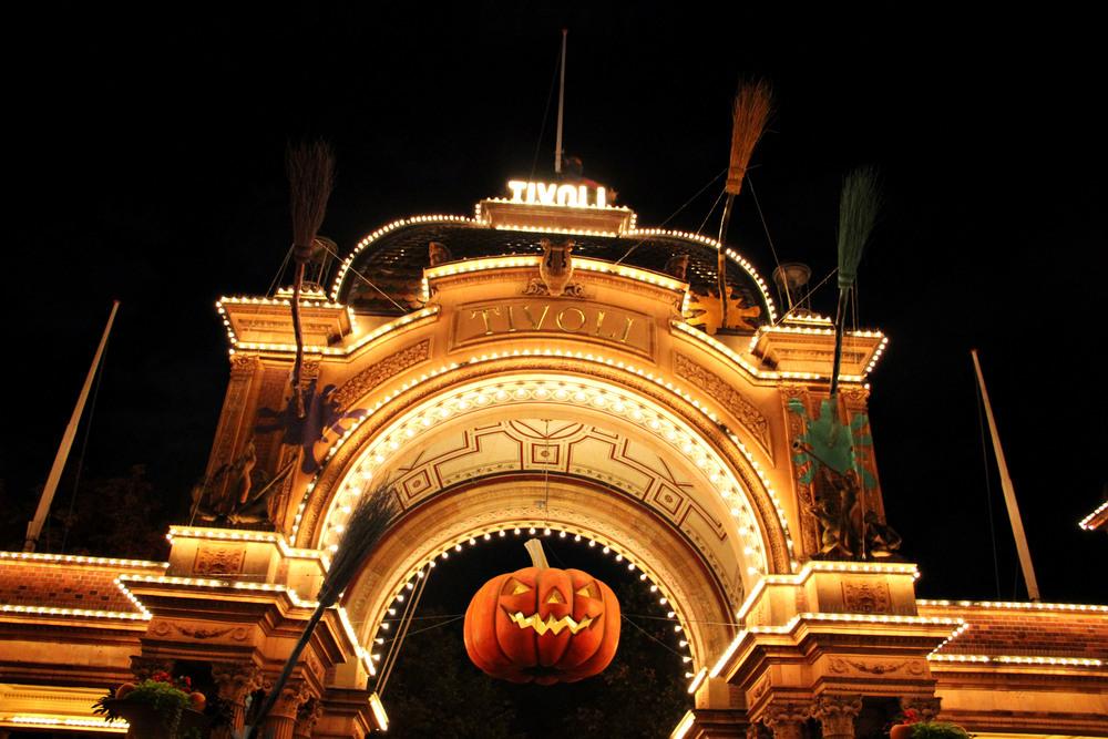 Trivoli gardens entrance, clearly ready for Halloween.