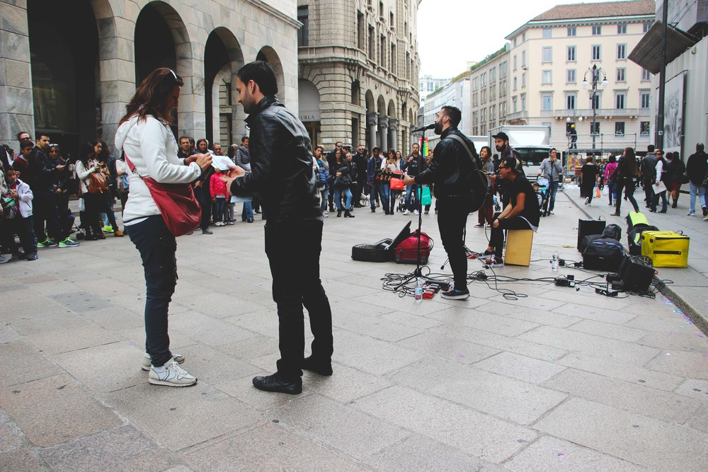 "Wonderful band performing right outside the Duomo. They did some beautiful covers of Snow Patrol's ""If I Lay Here"" and Jason Mraz's ""I'm Yours."""