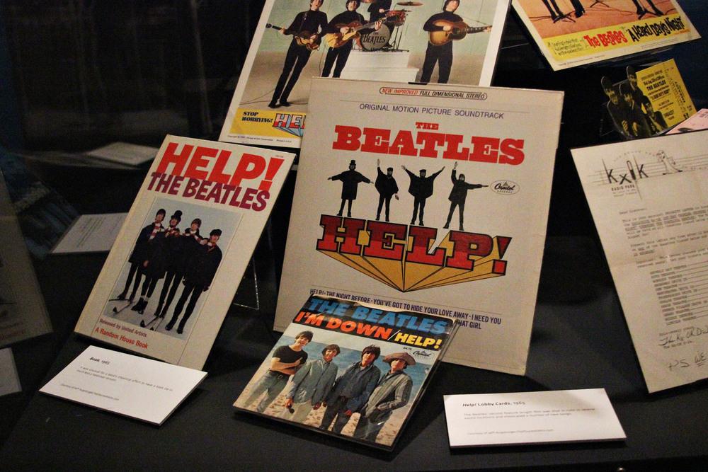 "Beatles memorabilia at the ""Ladies and Gentlemen.. the Beatles!"" exhibit, currently on display the LBJ Library."