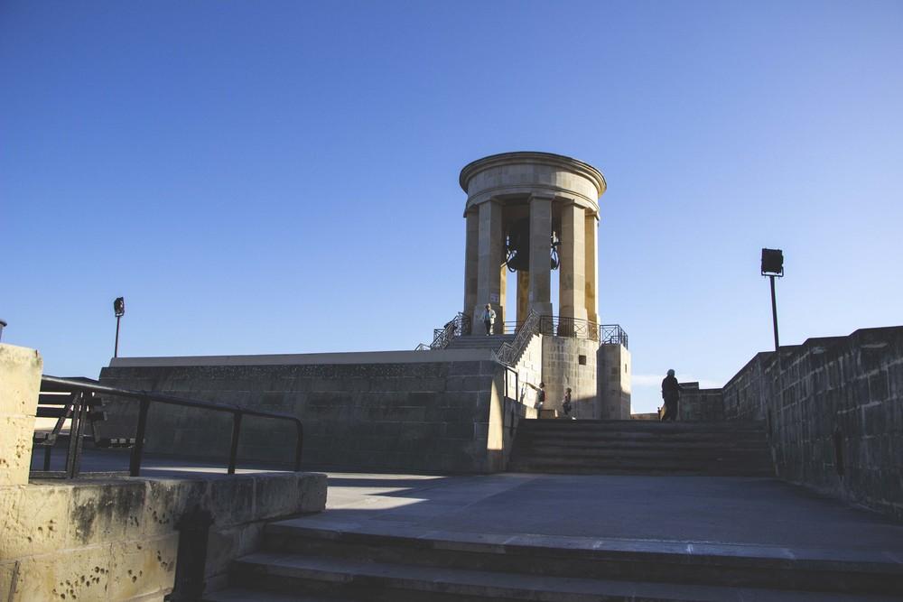 The Siege Bell Memorial in Valletta, Malta.