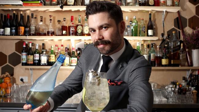 Luke Ashton at his bar, This Must Be the Place, Sydney, with a 16 Hands Spritz.
