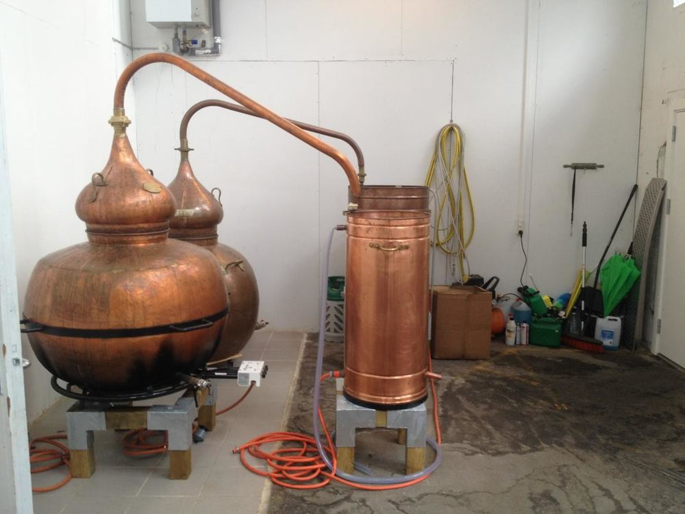 Very simple pot stills at Trolden Distillery, where The Clumsy Bear Vodka is made.