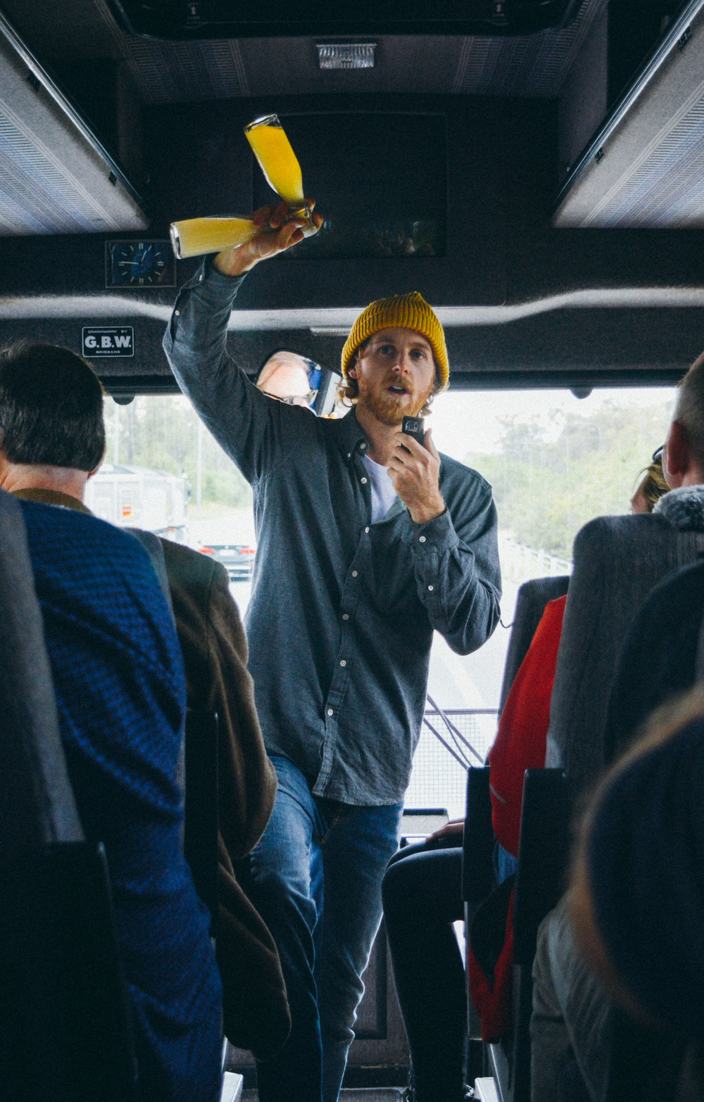 Jack from Bee One Third Neighbourhood Honey introduces his local mead to a busload of local food and drink heroes.