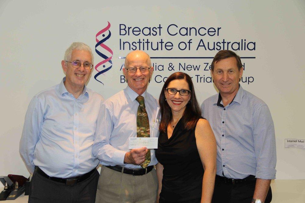 L-R: Dr Barry Frost, Prof Stephen Ackland, Julie Callaghan, John Hurley