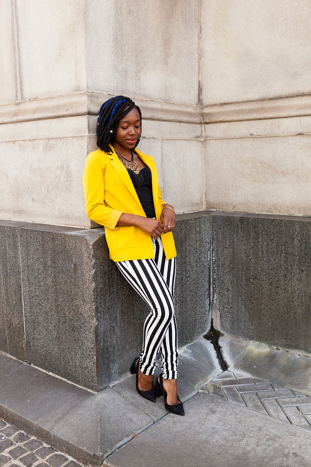 Bold color-bold print combo! - Other than mixing prints, a bright color paired with a bold print is the perfect duo.blazer +pants H&M// necklace: Stella&Dot