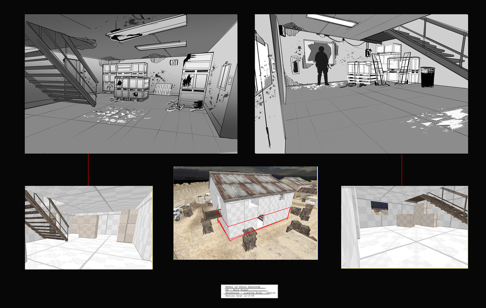 Medal of Honor - Bala Hisar warehouse sketches