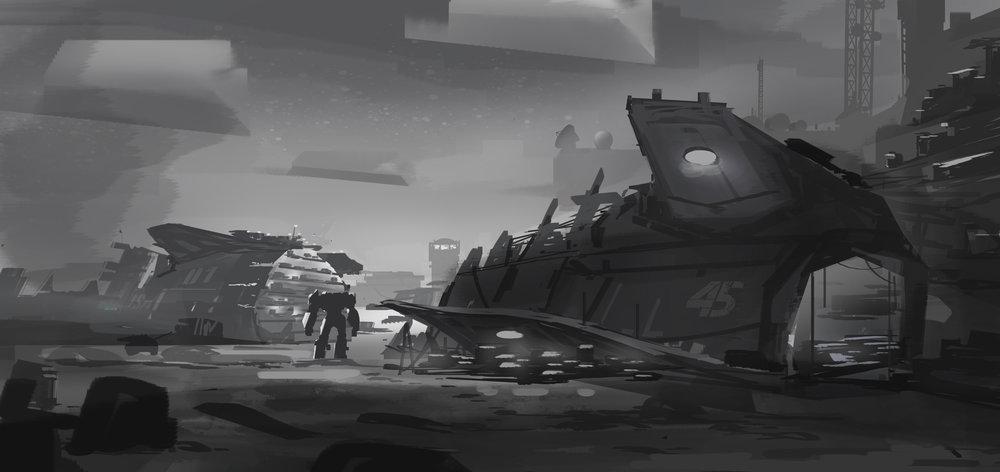 Archangel (VR) - Airbase carrier wreck sketch