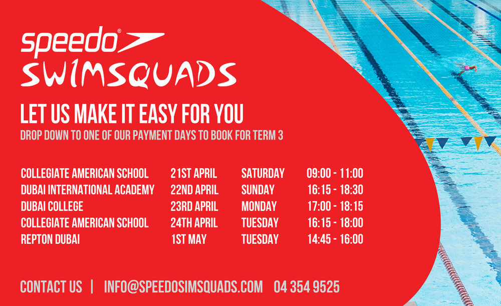 The above dates should be attended by all that know their swimming level to pay for term 3 before the start of the final term.