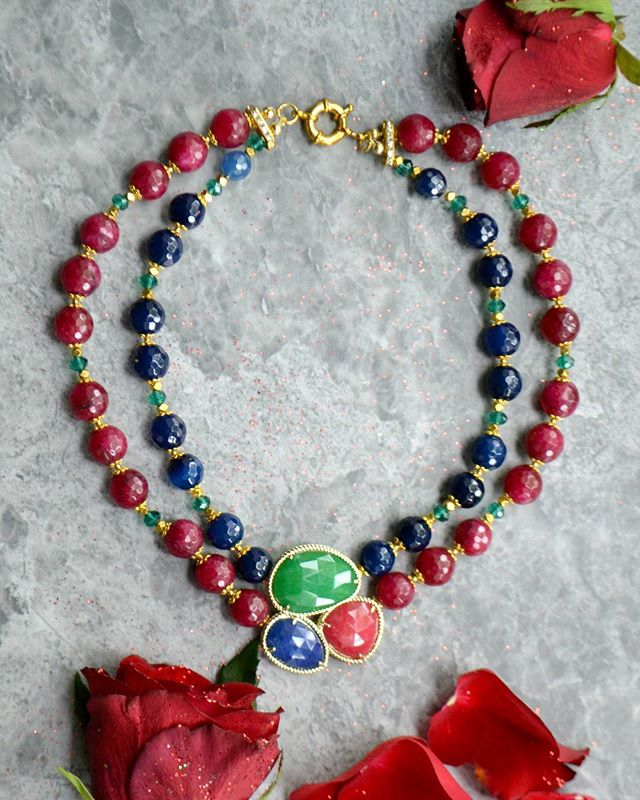 A striking piece of jewellery, made of dark blue ocean agate, dyed ruby and emerald green crystals.  Shop this bespoke necklace at : www.excessjewellery.com/shop/ruby-agate-necklace  #jewelry #jewels #toptags #jewel #fashion #gems #jewellery #gemstone #bling #like4like  #trendy #accessories #jewelrydesign #jewellerylover #beautiful #likebackteam #style #necklace #fancyjewelry #instajewelry #finejewelry #cute #jewelrygram #fashionjewelry #jewelryaddict #colours #jewelrydesign