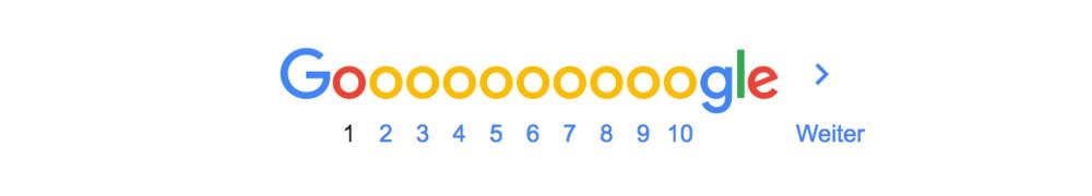 Abb. 1. Unterer Teil einer Suchergebnisseite auf Google, erste Seite markiert