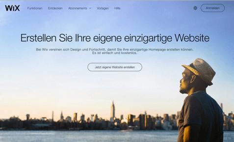 Ansicht Startseite von Wix