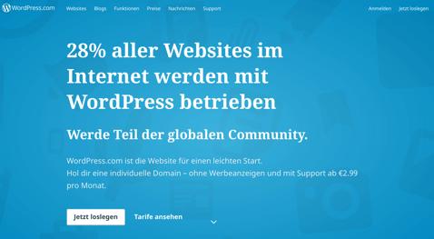 Ansicht Startseite von Wordpress