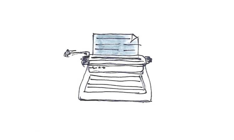 Illustration mit Schreibmaschine