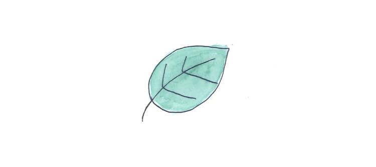 Gezeichnetes grünes Blatt
