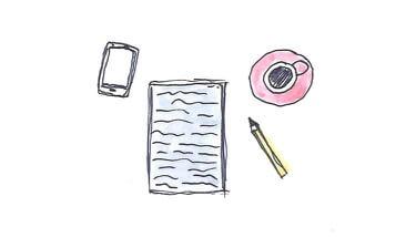 Illustration Block und Stift