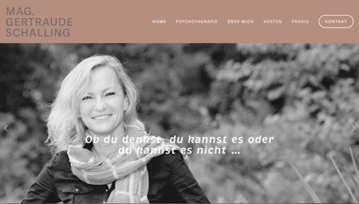 Gestaltung und Umsetzung der Website auf Squarespace (Template 'Bedford') für die Psychotherapeutin Gertraude Schalling.