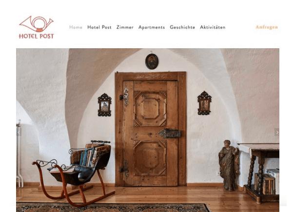 Gestaltung und Umsetzung der neuen Website auf Squarespace (Template 'Artesia') für das Hotel Post in Mauterndorf.