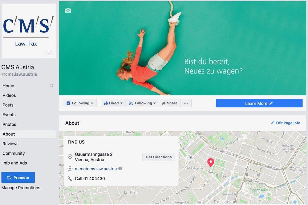 Aufbau einer Business-Page auf Facebook im Bereich Employer-Branding inkl. Konzept für die Bewerbung und Content-Strategie für CMS Reich-Rohrwig Hainz Rechtsanwälte GmbH