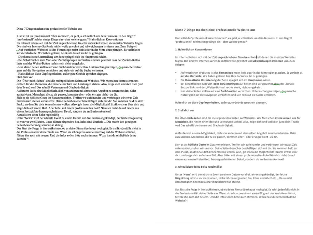 Bsp. Unformatierter versus formatierter Text
