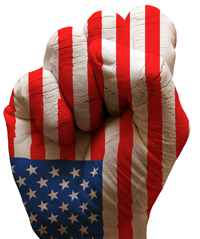 fist in american flag colors