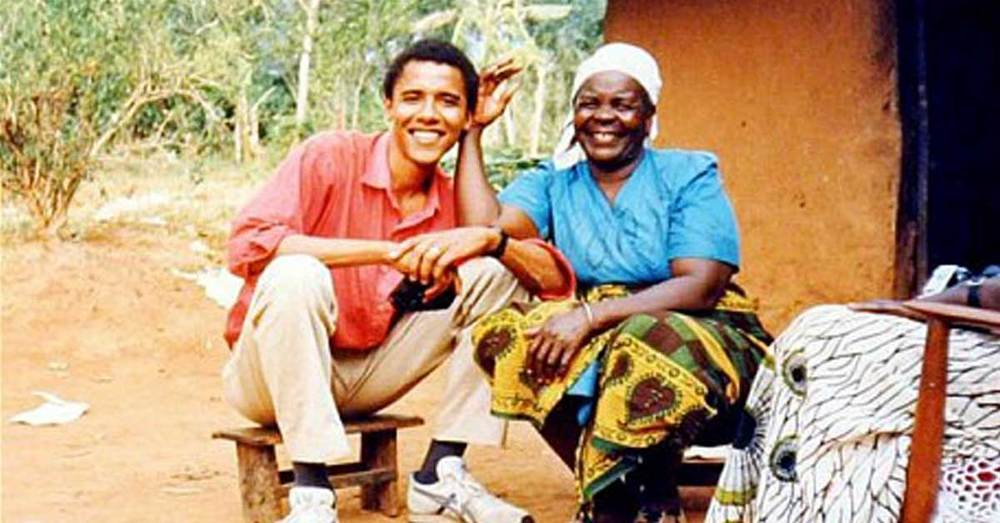 Barack Obama with his grandmother during a visit to the homeland