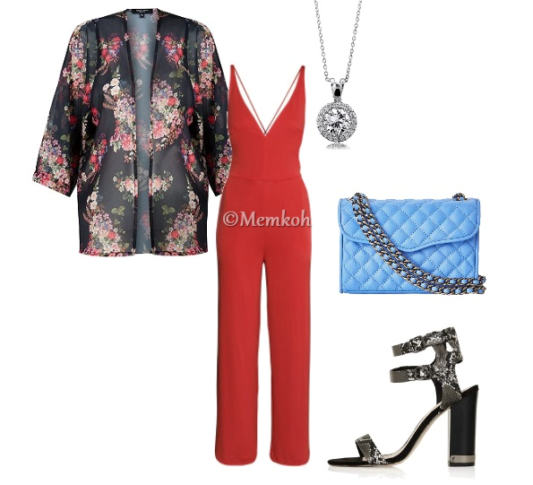 Jumpsuit: H&M || Kimono: New Look || Quilted Purse: Zappos || Shoes: Topshop