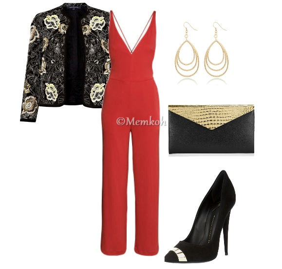 Jumpsuit: H&M || Jacket: French Connection || Clutch: Jimmy Choo || Shoes: Giuseppe Zanotti || Earrings: The Limited