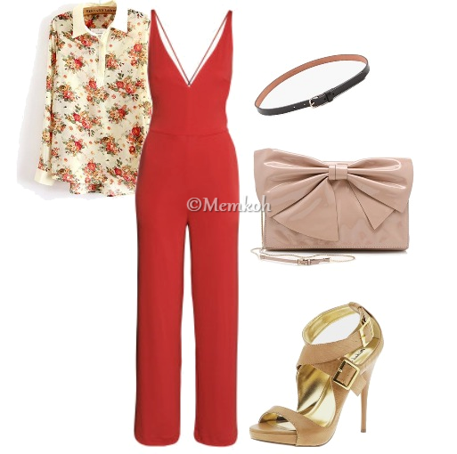 Jumpsuit: H&M || Floral Shirt: TB Dress || Clutch: Valentino || Shoes: Michael Antonio || Belt: Shopbop