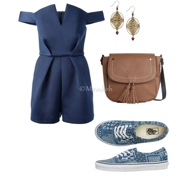 Romper: Paper London || Shoes: Vans || Bag: Mango || Earrings: Sold out. Another option here.