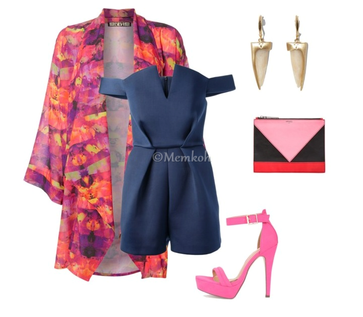 Romper: Paper London || Kimono: House of Fraser || Shoes: Necessary Clothing || Colorblock Clutch: Kenzo || Earrings: Vince Camuto