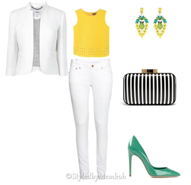 Jeans:Topshop || Top:Vince Camuto|| Blazer:LKBennett || Shoes:Farfetch (Dolce&Gabbana)|| Clutch: Sold Out. Alternative here || Earrings:Zappos (Gypsy SOULE)