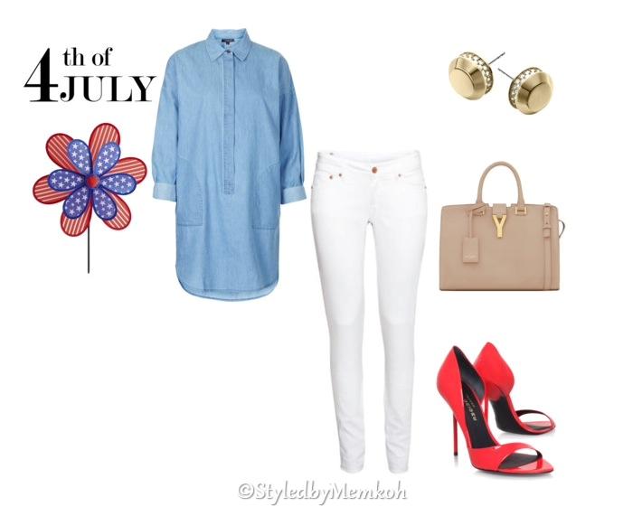Jeans:Topshop    Denim Shirt:Topshop    Shoes:Kurt Geiger   Bag:Saint Laurent   Earrings:Michael Kors