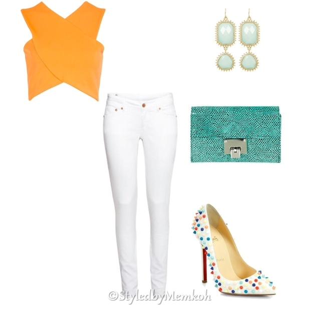 Jeans:Topshop || Crop top:Boohoo || Shoes:SaksFifthAvenue (Christian Louboutin)|| Purse:Topshop || Earrings:Pink Mascara (Towne &Reese