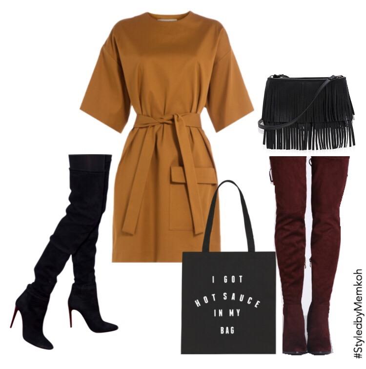 Dress:MSGM (via Stylebop)| Leather Skirt: Intermix Online| Shoes: sold out. Black option| Clutch: Halsbrook