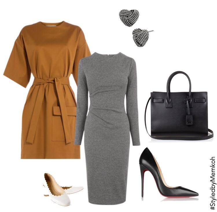 Dress:MSGM (via Stylebop)| Gray Dress:John Lewis| Shoes:Christian Louboutin| Bag:Saint Laurent| Flats:Chloe| Earrings:Betsey Johnson