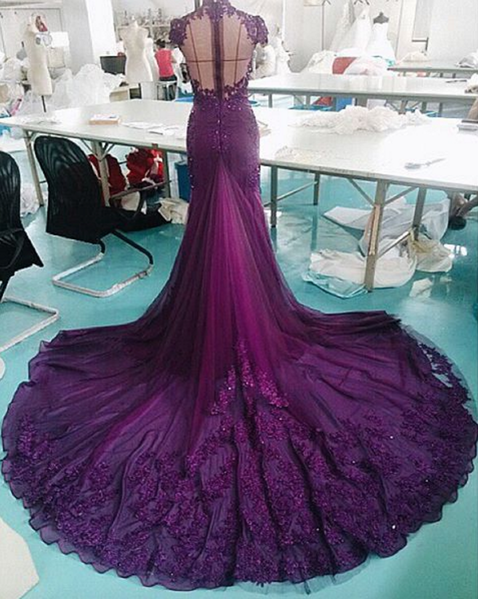 To see this purple dress on the bride, click -> Bride in A.