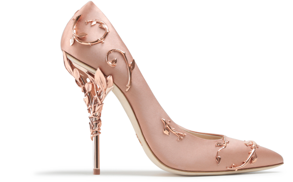 Eden Pumps in Pink with rose gold leaves