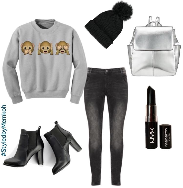Sweatshirt:Rosegal \ Jeans: Navabi (plus size fashion) \ Boots: YesStyle \ Backpack: John Lewis \ Pom pom Beanie: Forever21 \ Lipstick: NYX (via Amazon)