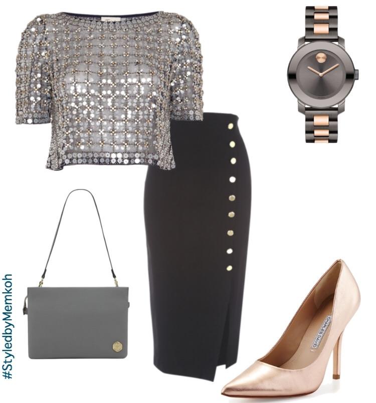 Skirt: Jane Norman \ Top: Pinterest Find \ Shoes: Charles David (via Neiman Marcus) \ Bag: Vince Camuto (via Shoptheshoebox.com) \ Watch: Movado (via belk.com)