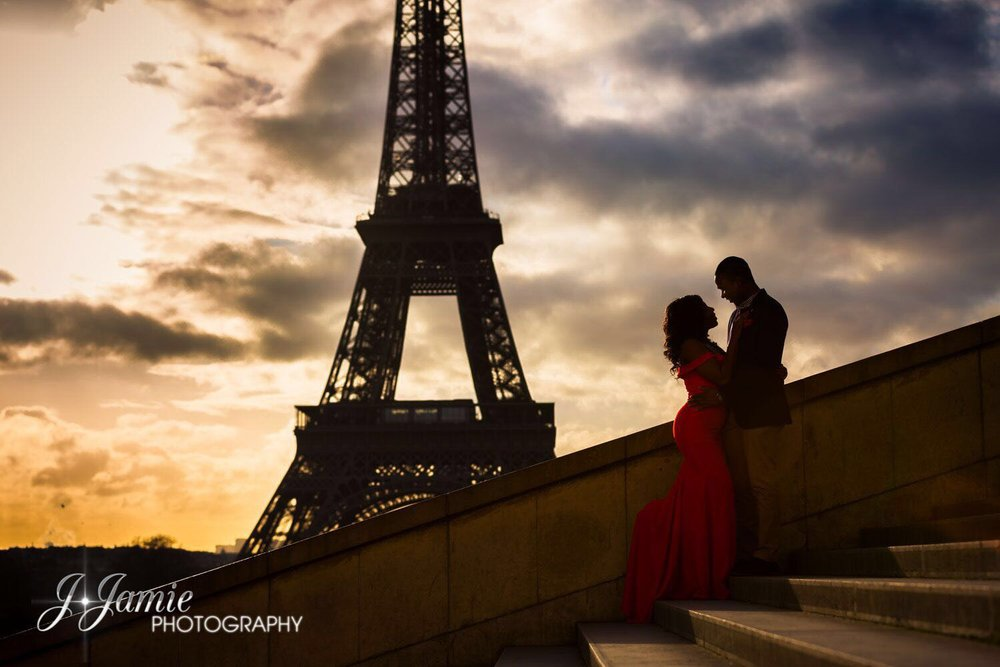The couple had their engagement photoshoot in Paris, that's why we got her bridal box that had Paris on it, since Paris held a special memory for her.