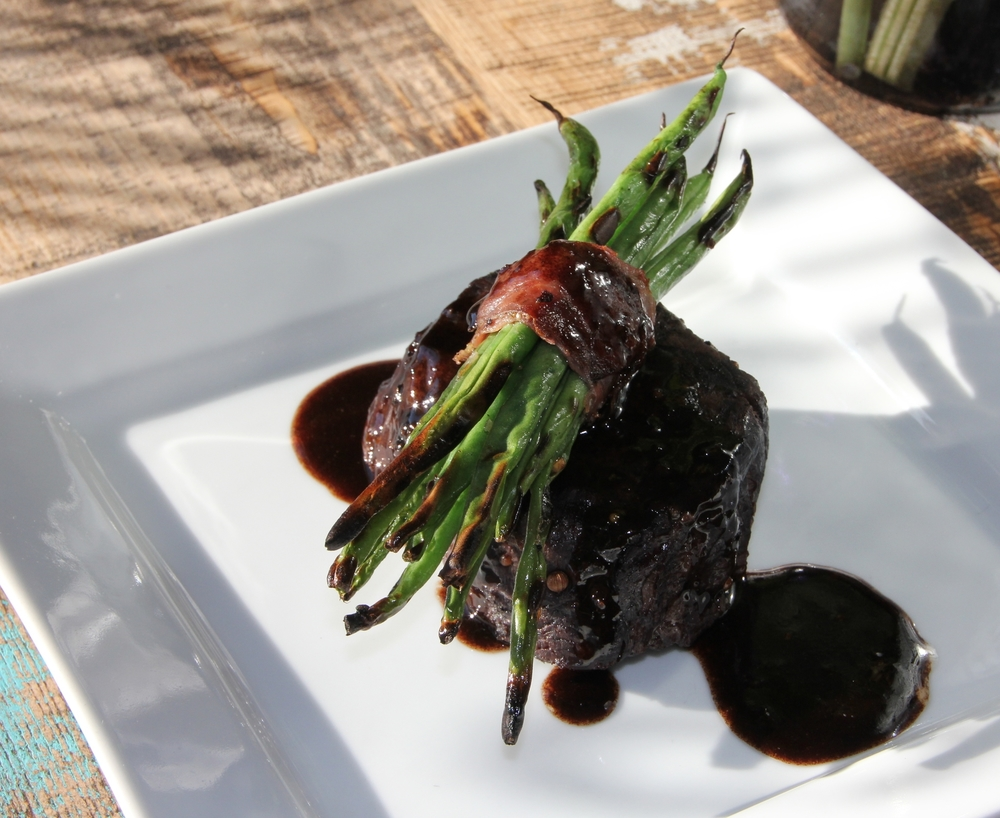Sous Vide Beef Tenderloin w/ Grilled Proscuitto Wrapped Haricot Verts, a typical item on the weekend menu at #TheFork