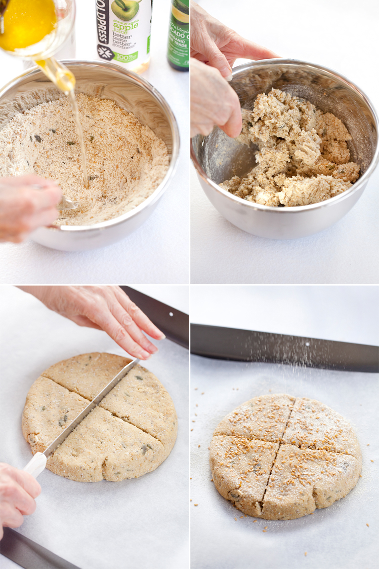 Top left: Make a well in the centre of the combined dry ingredients, then pour in the combined wet ingredients. Top right: Mix everything together with a fork. Bottom left: After shaping, score a cross in the dough. Bottom right: Sprinkle with extra seeds and dust with sifted almond flour before baking.