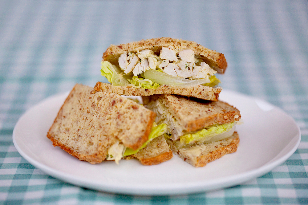 Cold roast chicken with tarragon mayonnaise and crispy lettuce between our  Grain-Free Bread